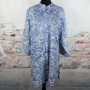 Coldwater Creek 1X Blue Gray Print Tunic Top